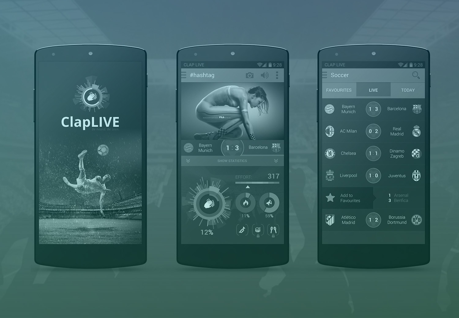 ClapLIVE - mobile application for encouraging favourite sport teams during the live matches