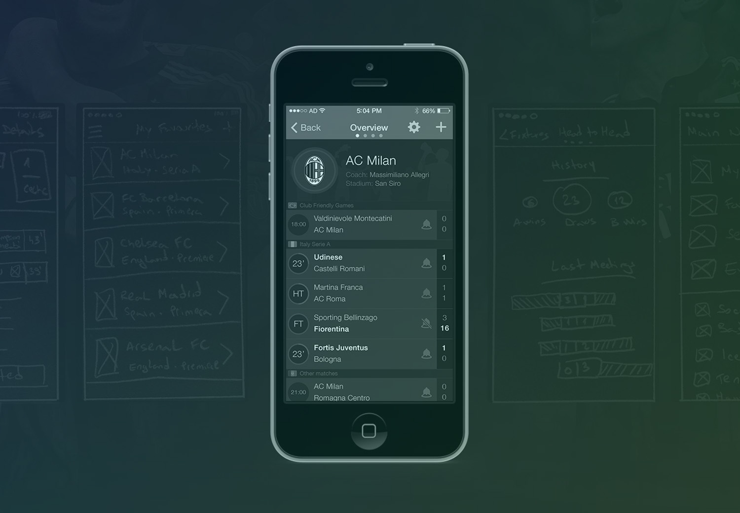 Score Alarm - sketching, wireframing and user interface design